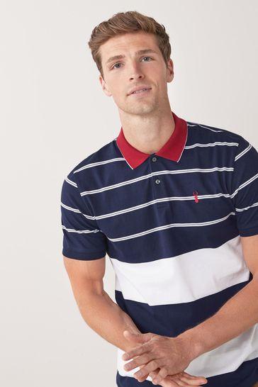 Navy/White Block Stripe Polo