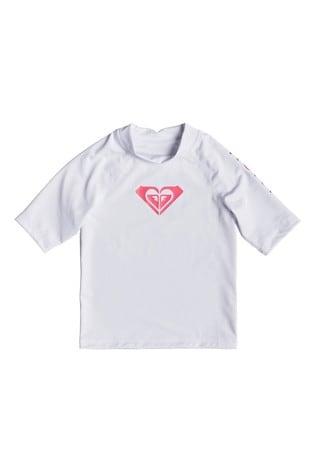 Roxy White Whole Hearted Short Sleeve Rash Vest