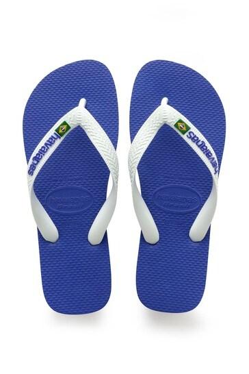 Havaianas Blue Brasil Logo Flip Flops
