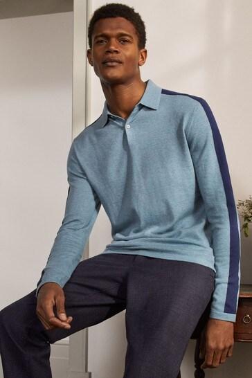 Boden Blue Merino Blend Polo Shirt