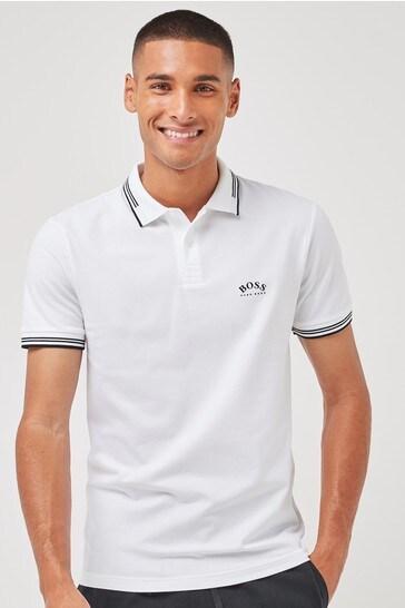 BOSS White Boss Paul Curved Polo Shirt