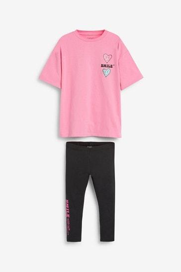 Pink/Black Smile T-Shirt And Leggings Set (3-16yrs)
