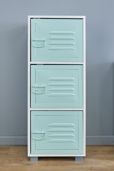 Cabinet With 3 Green Metal Doors in White By Lloyd Pascal