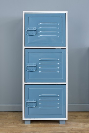 Cabinet with 3 Blue Metal Doors in White By Lloyd Pascal