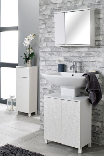 Mary Jane Ripple Mirror Cabinet in White By Lloyd Pascal