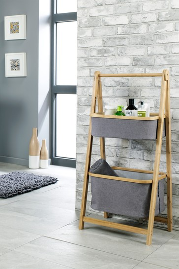 Climate 2 Tier Folding Basket Storage in Grey and Bamboo By Lloyd Pascal