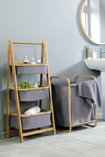 Climate 3 Tier Folding Basket Storage in Grey and Bamboo By Lloyd Pascal