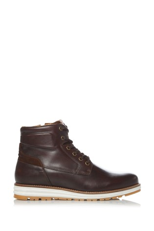 Dune London Brown Catchy Casual Wedge Hiker Boots