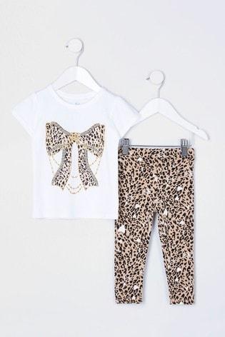 River Island White Printed Leopard Bow T-Shirt Set