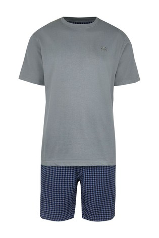 River Island Blue Dogtooth Woven Shorts Set