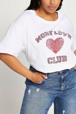 River Island Plus White More Love Club Boyfriend T-Shirt