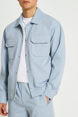 River Island Blue Light Drape Laundry Overshirt