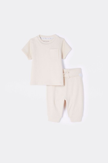 River Island Beige Deep Variegated Rib T-Shirt And Trousers Set