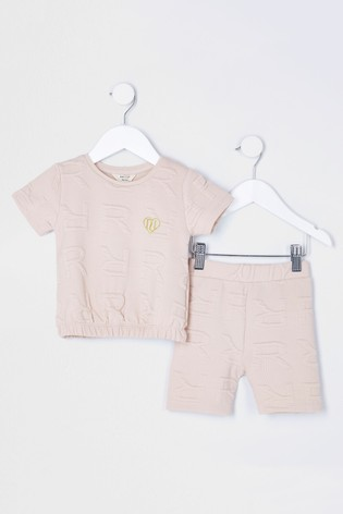River Island Beige Light Monogram T-Shirt And Shorts Set
