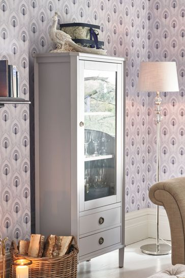 Henshaw Pale Steel 1 Door 2 Drawer Display Unit By Laura Ashley
