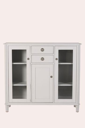 Henshaw Pale Steel 3 Door 2 Drawer Low Display Unit By Laura Ashley