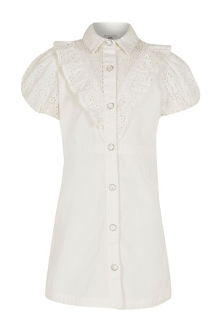 River Island White Denim Broderie Shirt
