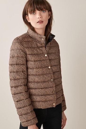 Emme Marella Camel London Spot Print Reversible Jacket