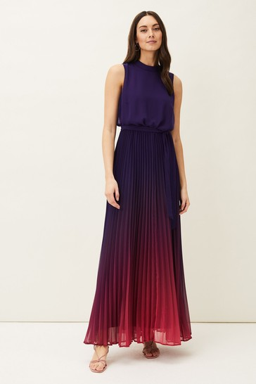Phase Eight Purple Lily Dip Dye Pleated Dress
