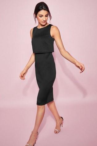 Glamour Black Scuba Overlay Pencil Dress