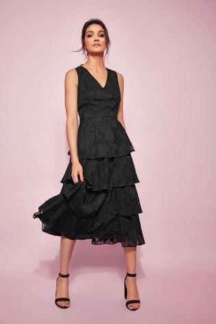 Glamour Black Jacquard Tiered Midi Dress