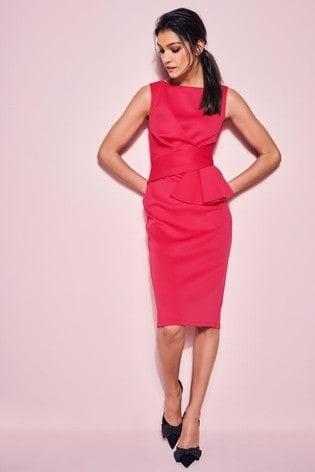 Glamour Red Cerise Ruffle Scuba Dress
