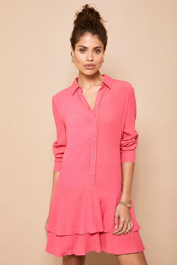 Mint Velvet Pink Ruffled Tiered Mini Dress