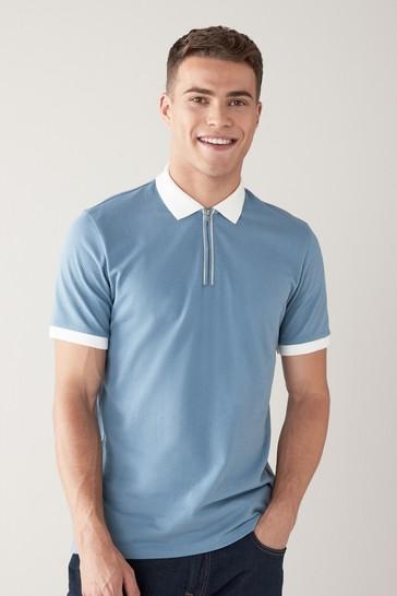 Light Blue Textured Smart Collar Polo Shirt