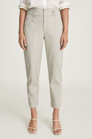 REISS Green Baxter Relaxed Tapered Fit Trousers