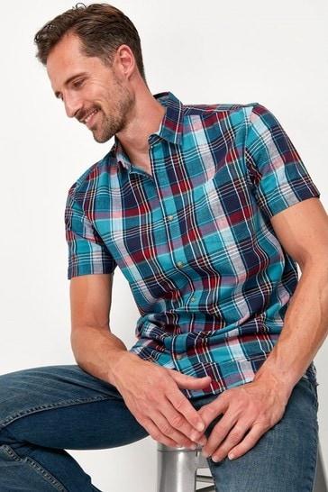 M&Co Blue Cotton Check Shirt