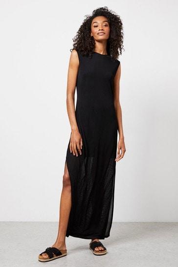 Mint Velvet Black Jersey Column Maxi Dress
