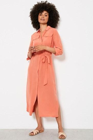 Mint Velvet Orange Midi Shirt Dress