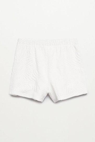 Mango White Leaves Texture Shorts
