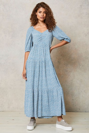 Mint Velvet Blue Floral Tiered Maxi Dress