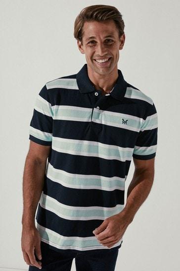 Crew Clothing Company Green Leeson Stripe Polo Shirt