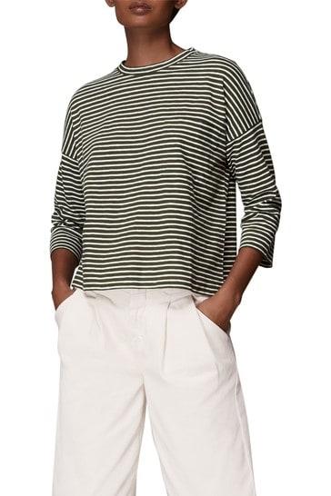 Whistles Stripe Cotton Pocket Top