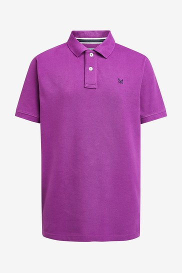 Crew Clothing Company Purple Classic Pique Polo Shirt