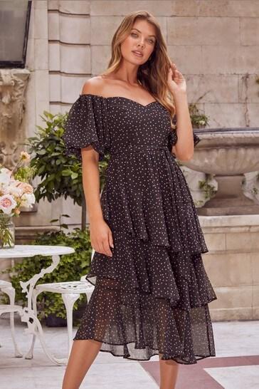 Lipsy Black/Pink Spot Bardot Tiered Midi Dress