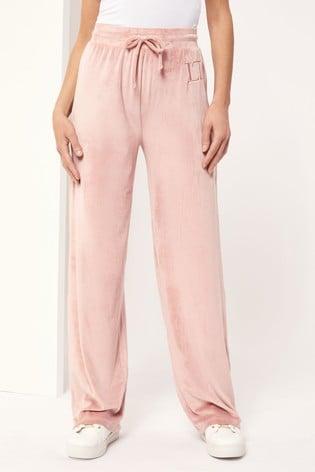 Lipsy Pink Lounge Velour Wide Leg Trouser