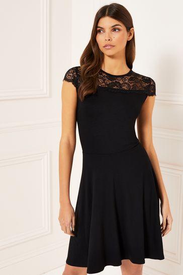 Lipsy Black Cap Sleeve Lace Skater Dress