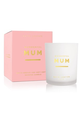 Katie Loxton Sentiment Candle | Wonderful Mum | White Orchid and Soft Cotton | 160g