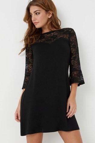 Lipsy Black Lace Sweetheart Long Sleeves Mini Skater Dress