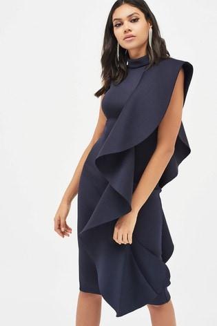 Lavish Alice Scuba Frilled Midi Dress