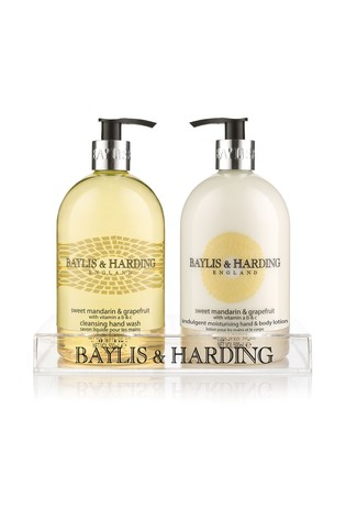 Baylis & Harding Sweet Mandarin And Grapefruit Hand Wash And Lotion in a Clear Acrylic Rack