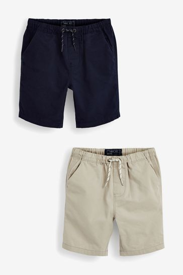 Navy/Stone 2 Pack Pull-On Shorts (3-16yrs)