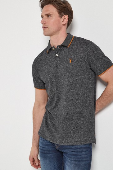 Charcoal Grey Marl Soft Touch Tipped Regular Fit Polo Shirt