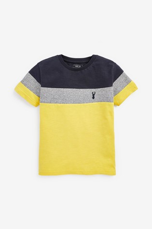 Navy/Yellow Textured Colourblock T-Shirt (3-16yrs)