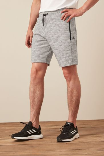 Grey Jersey Shorts With Zip Pockets