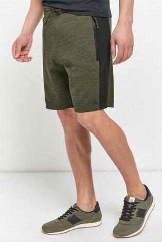 Khaki Green Jersey Shorts With Zip Pockets