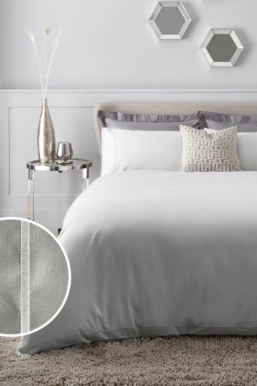 Silver Grey 300 Thread Count 100% Cotton Sateen Collection Luxe Duvet Cover and PIllowcase Set